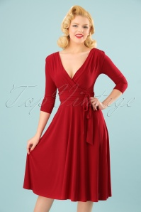 Vintage Chic 3 4 Sleeve Red Dress 102 20 24517 20180216 0009W