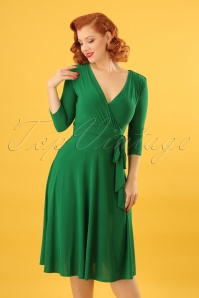 50s Lenora Midi Dress in Emerald Green