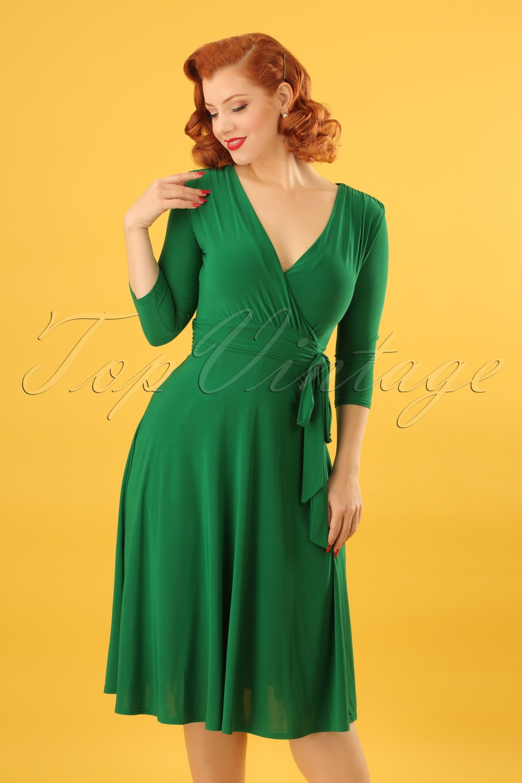 50s lenora midi dress in emerald green