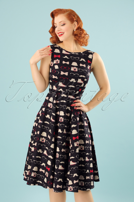 50s Hepburn Hipster Chic Swing Dress In Black