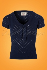 50s Patricia Pointelle Top in Navy