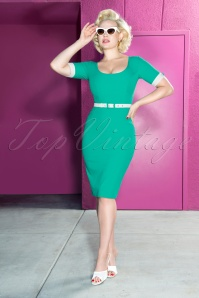 50s Annie Pencil Dress in Turquoise