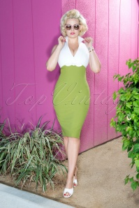 Glamour Bunny Rizzo Green White Pencil Dress 23872 20180108 0026