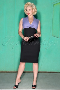 Glamour Bunny Rizzo Black and Purple Pencil Dress 23871 20180103 1