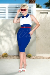 50s Kelly Pencil Dress in Royal Blue and White