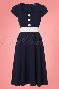Vintage Chic Scuba Navy Cream Blue Dress 102 31 24494 20180313 0001w