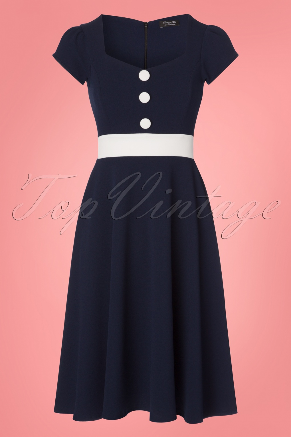 Sailor Dresses, Nautical Dress, Pin Up & WW2 Dresses 50s Rebecca Swing Dress in Navy £47.51 AT vintagedancer.com