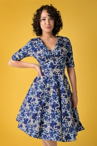 50s Delores Floral Swing Dress in Rococo Blue