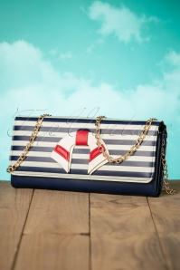 50s Nautical Vibes Vintage Clutch in Navy