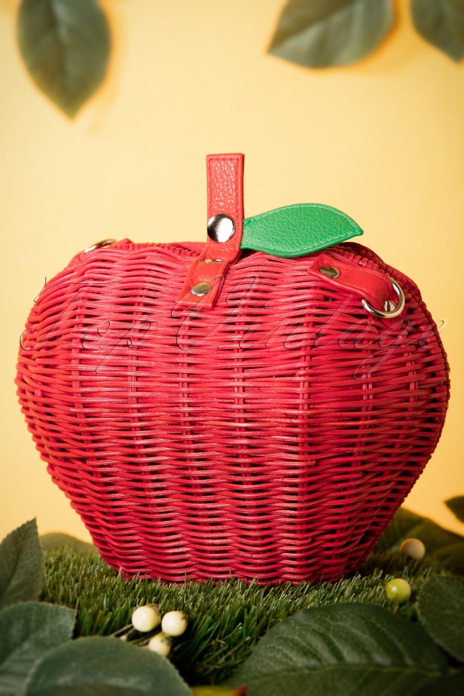 Vintage & Retro Handbags, Purses, Wallets, Bags 50s Juicy Apple Wicker Bag in Red £46.61 AT vintagedancer.com