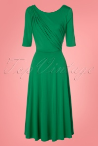 50s Vestido Gold Dress in Green