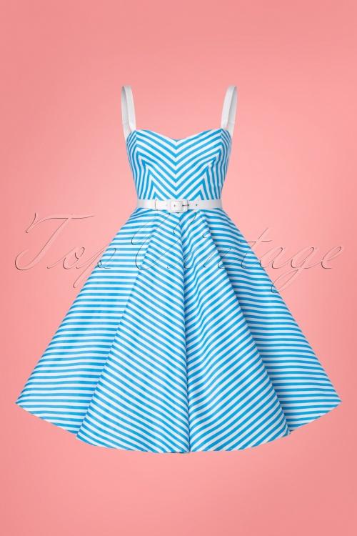 e61461f3cfd21 Vixen by Micheline Pitt 50s Dollface Striped Swingdress 102 39 24526  20180315 0004W
