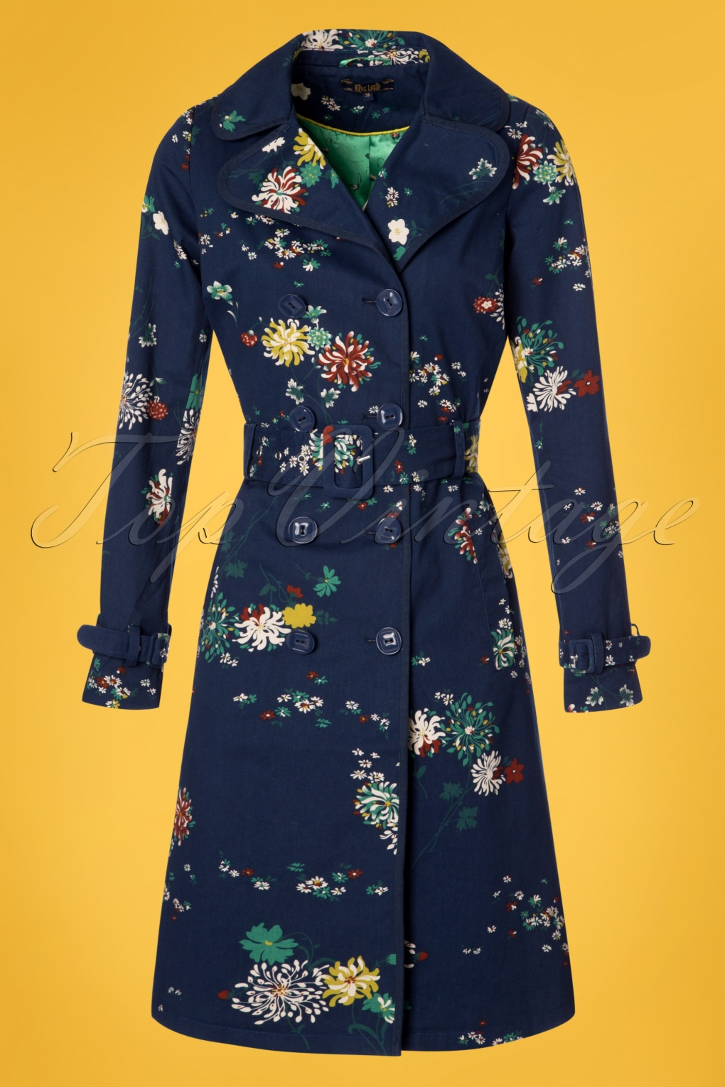 Vintage Coats & Jackets | Retro Coats and Jackets 60s Goldflower Trenchcoat in Dark Navy £120.92 AT vintagedancer.com