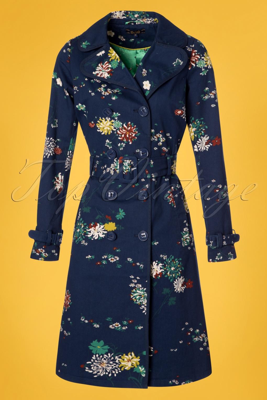 1960s Fashion: What Did Women Wear? 60s Goldflower Trenchcoat in Dark Navy £123.51 AT vintagedancer.com