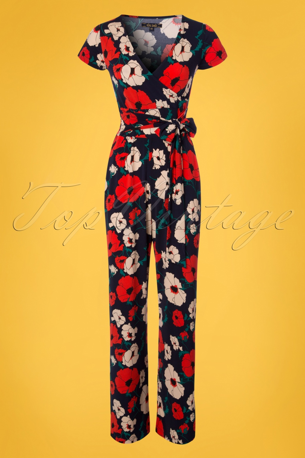 Vintage High Waisted Trousers, Sailor Pants, Jeans 70s Farah Shirley Poppy Jumpsuit in Navy £120.92 AT vintagedancer.com