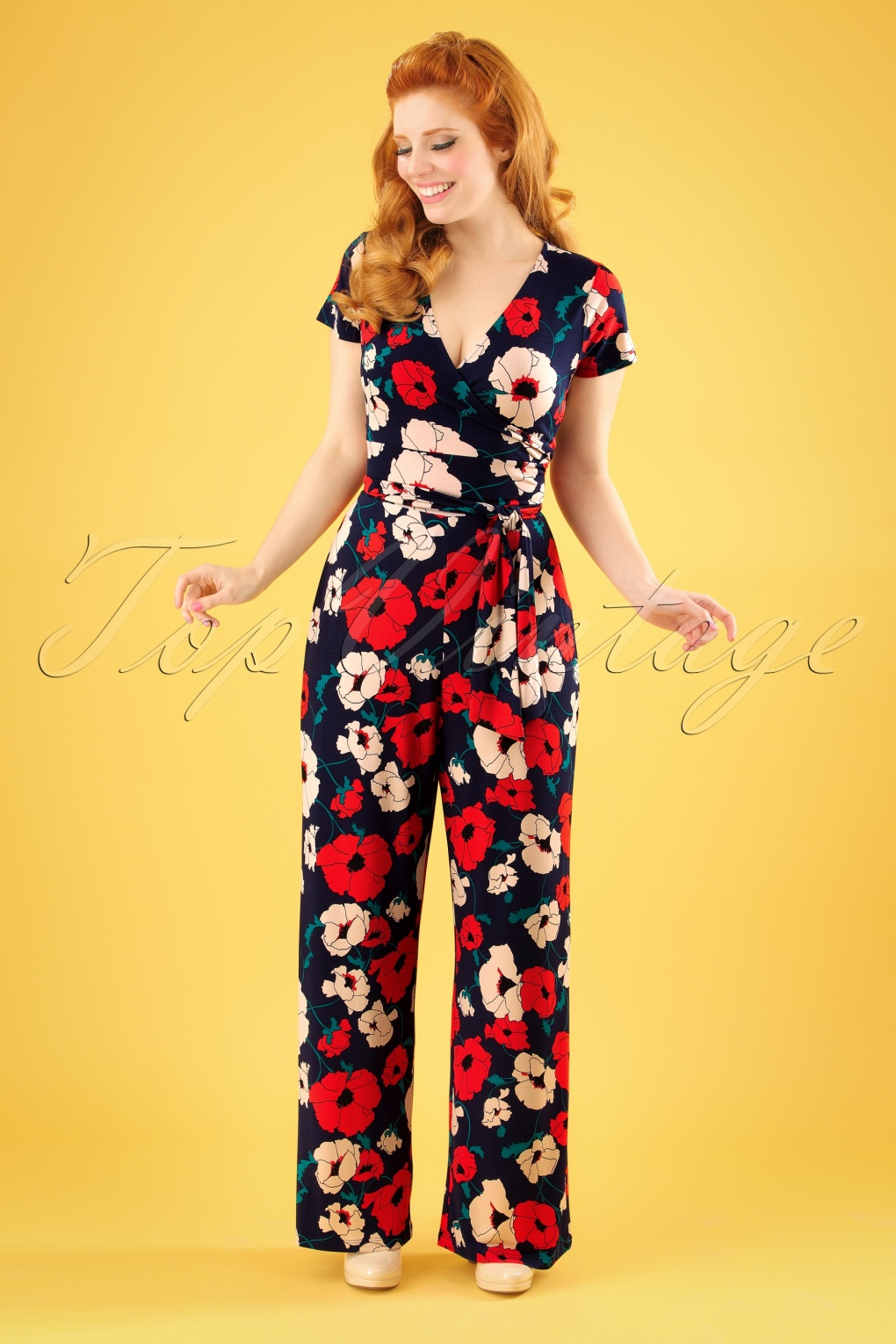 Vintage High Waisted Trousers, Sailor Pants, Jeans 70s Farah Shirley Poppy Jumpsuit in Navy £123.51 AT vintagedancer.com