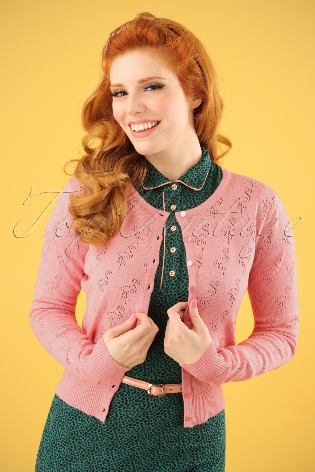 1950s Sweaters, 50s Cardigans, Twin Sweater Sets 50s Goddess Flamingo Cardigan in Old Pink £39.53 AT vintagedancer.com