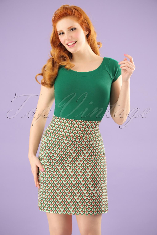Retro Skirts: Vintage, Pencil, Circle, & Plus Sizes 60s I Got You I Feel Good A-Line Skirt in Green £52.73 AT vintagedancer.com