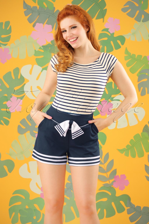 Vintage High Waisted Shorts, Sailor Shorts, Capris 50s Set Sail Shorts in Navy £33.16 AT vintagedancer.com