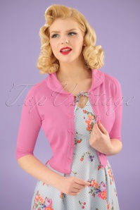 40s April Bow Cardigan in Pink