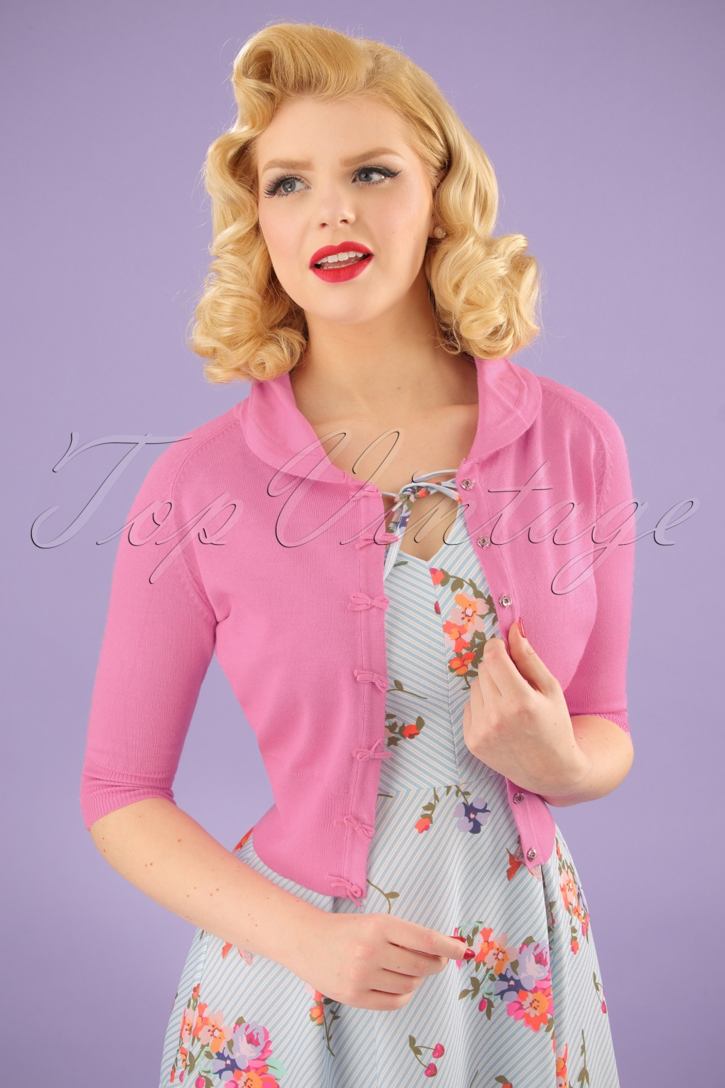 1940s Blouses and Tops 40s April Bow Cardigan in Pink £33.14 AT vintagedancer.com