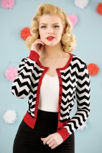 Banned Retro 60s Black Coffee Chevron Cardigan in Black and Red