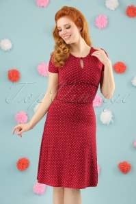Lucky Star Polkadot Dress Années 60 en Rouge