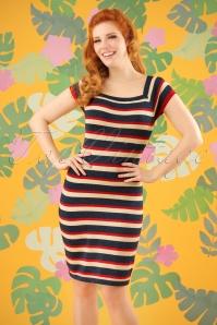 King Louie Marie Knit Dress Glitter Dark Navy Striped 23285 20180105 0007W