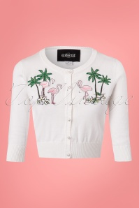 Collectif Clothing Lucy Tropical Flamingo Cardigan in Ivory 23618 20171122 0003W