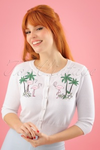 Collectif Clothing Lucy Tropical Flamingo Cardigan in Ivory 23618 20171122 1W