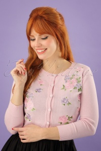 50s Abigail English Garden Cardigan in Pink