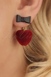 50s Sweetheart Drop Earrings in Red