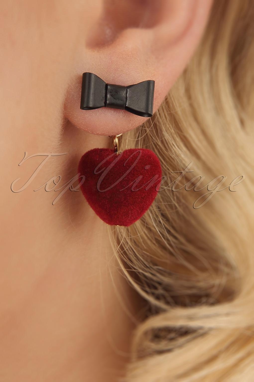 50s Jewelry: Earrings, Necklace, Brooch, Bracelet 50s Sweetheart Drop Earrings in Red �10.36 AT vintagedancer.com