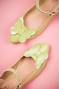 50s Fifi Parfait Patent Kitten Heels in Apple Green