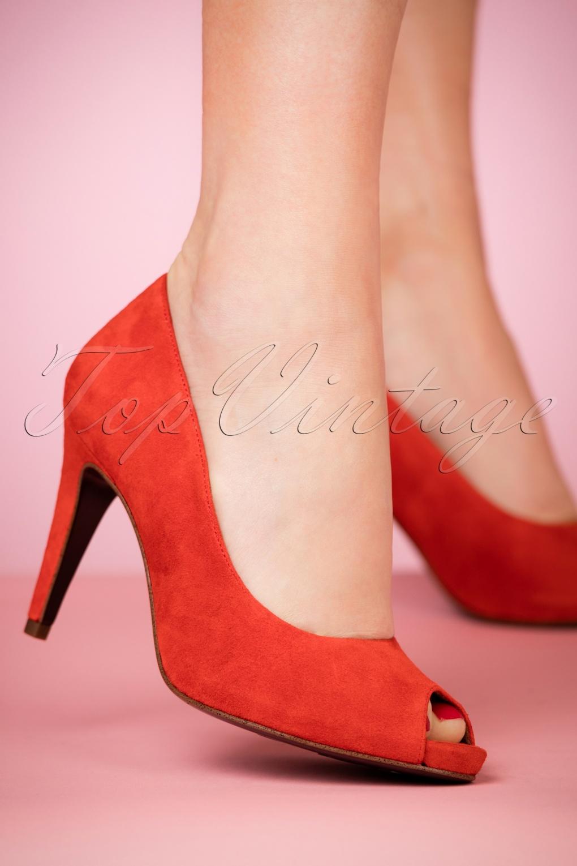 TAMARIS 50S CLASSY Suedine Heart Sole Black Pump Heel Size