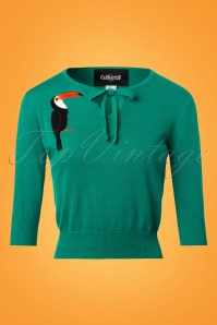 Collectif Clothing Juliana Toucan Jumper in Green 22539 20171121 0002W