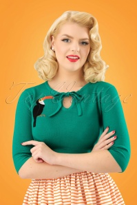Collectif Clothing Juliana Toucan Jumper in Green 22539 20171121 01W