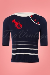 Collectif Clothing Amanda Lobster Jumper in Navy 23615 20171121 0001W