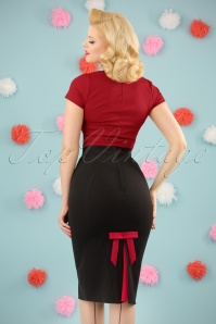 Miss Candyfloss TopVintage Exclusive Black Bow Pencil Skirt 120 10 24189 20180215 0007W