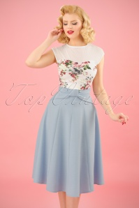 40s Victoria Swing Skirt in Light Blue