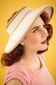 50s Matek Straw Visor Hat in White