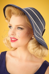 50s Cruise Straw Visor Hat in Navy