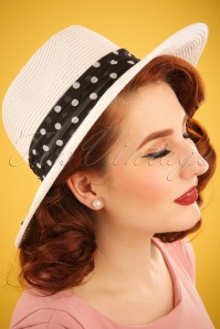 50s Carmen Fedora Straw Hat in Black and White