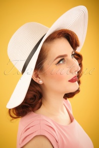 50s Solana Floppy Straw Hat in White