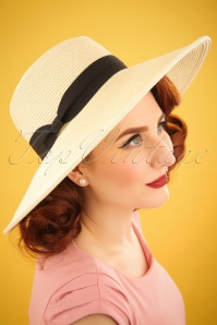 50s Cabo Fedora Straw Hat in Cream
