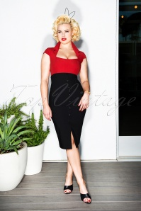 50s Lexy Pencil Dress in Black and Red