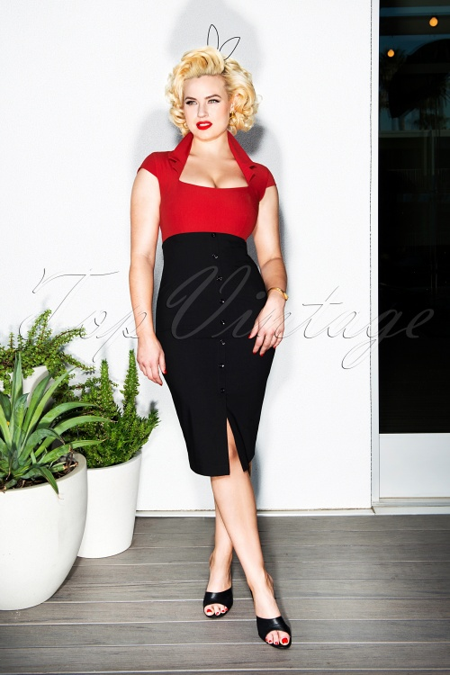 Glamour Bunny Lexy Pencil Dress in Black and Red 23876 20180104 01