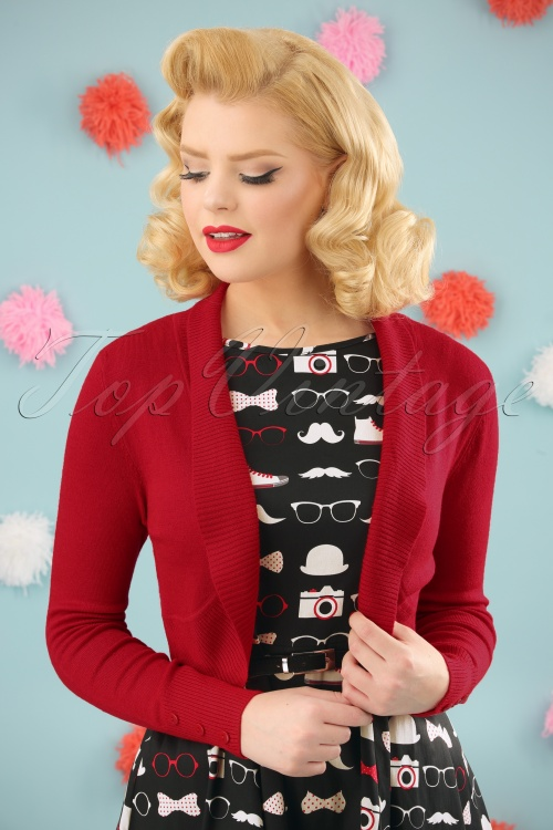 Collectif Clothing Jean Knitted Bolero Red 10360 5W