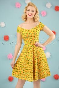 50s Pineapple Swing Dress in Yellow