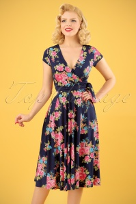 50s Layla Roses Cross Over Dress in Navy